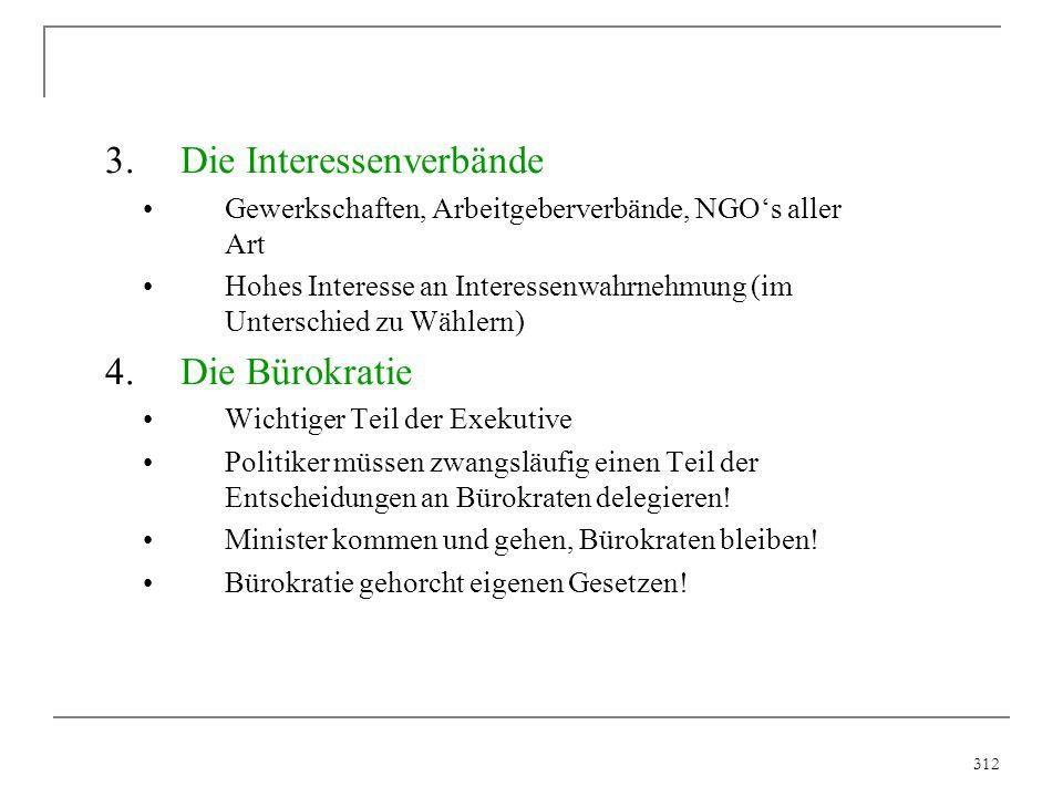 312 3.Die Interessenverbände Gewerkschaften, Arbeitgeberverbände, NGO's aller Art Hohes Interesse an Interessenwahrnehmung (im Unterschied zu Wählern)