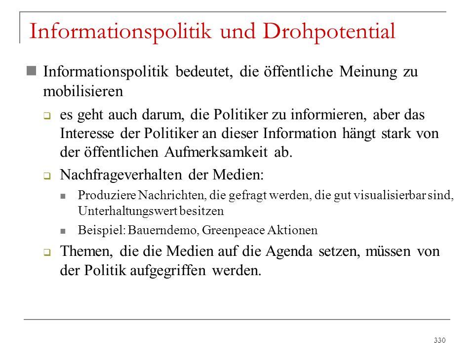 330 Informationspolitik und Drohpotential Informationspolitik bedeutet, die öffentliche Meinung zu mobilisieren  es geht auch darum, die Politiker zu