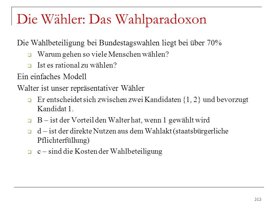 314 n 1, n 2 = Wählerstimmen für Kandidat 1, 2 Vier Fälle: a)n 1 – n 2 > 1  Kandidat 1 gewinnt auch wenn Walter nicht zur Wahl geht b)n 1 – n 2 = 0  Walter entscheidet die Wahl zugunsten seines Kandidaten c)n 1 – n 2 = 1  Walter kann ein Patt erreichen d)n 1 – n 2 < -1  Kandidat 2 gewinnt auch wenn Walter für 1 stimmt Sei q 1 die Wahrscheinlichkeit für Ausgang a), und p die W'keit für die Ausgänge b) und c).