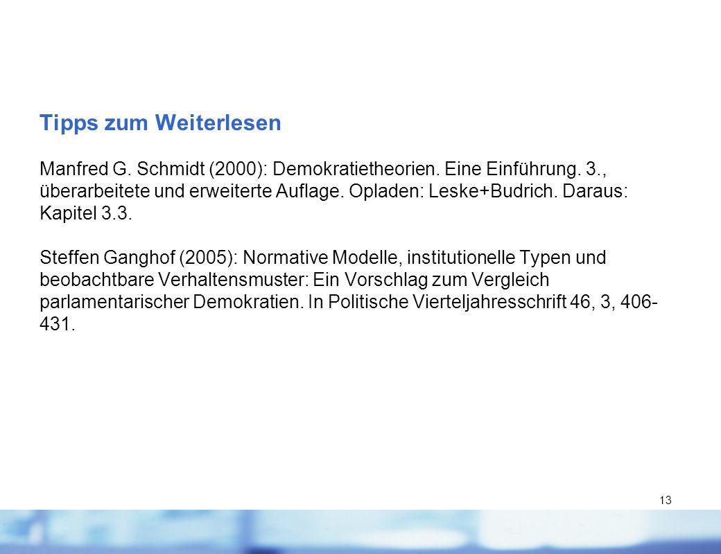 13 Tipps zum Weiterlesen Manfred G. Schmidt (2000): Demokratietheorien. Eine Einführung. 3., überarbeitete und erweiterte Auflage. Opladen: Leske+Budr