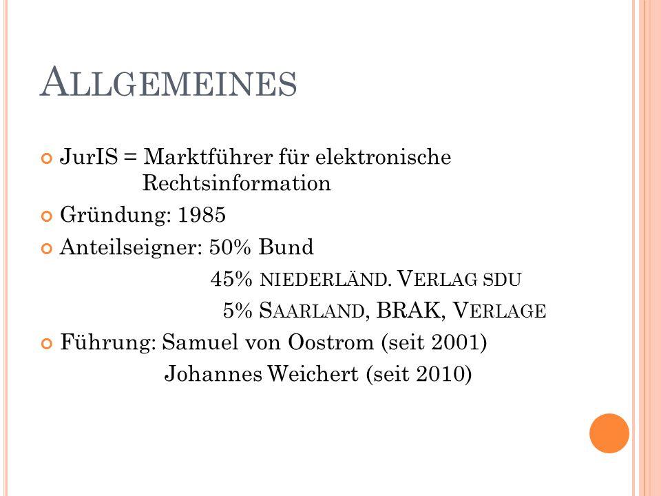 A LLGEMEINES JurIS = Marktführer für elektronische Rechtsinformation Gründung: 1985 Anteilseigner: 50% Bund 45% NIEDERLÄND.