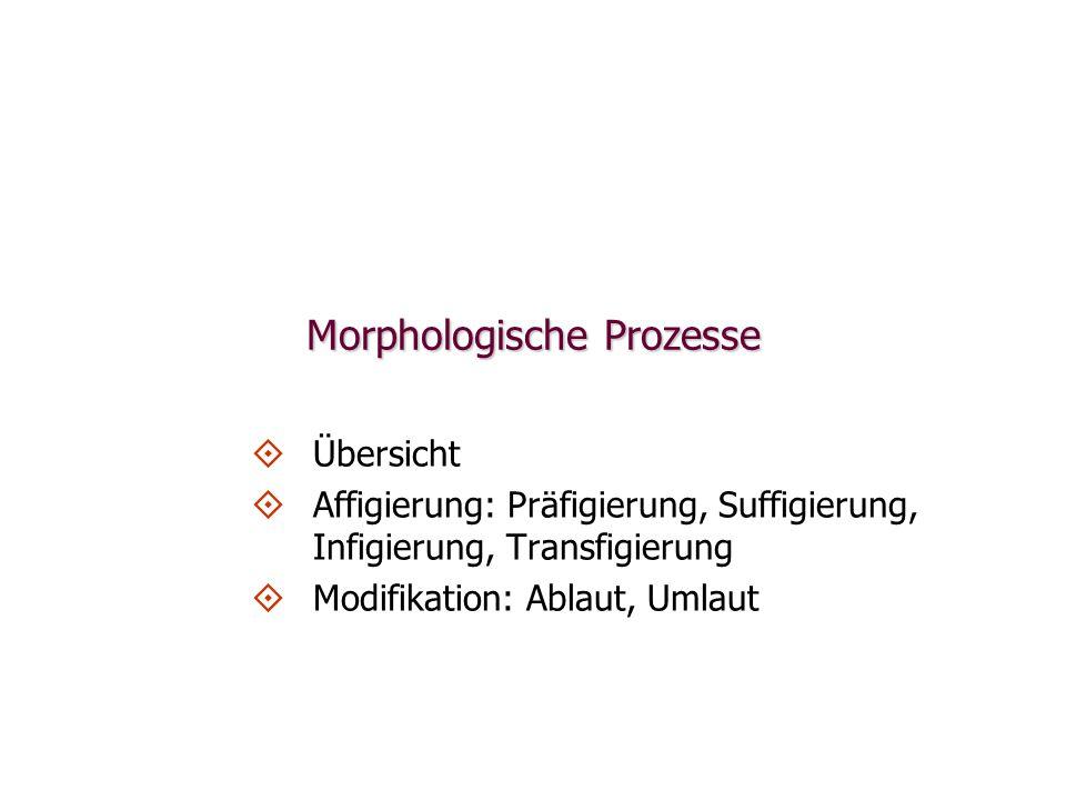 Morphologische Prozesse   Übersicht   Affigierung: Präfigierung, Suffigierung, Infigierung, Transfigierung   Modifikation: Ablaut, Umlaut