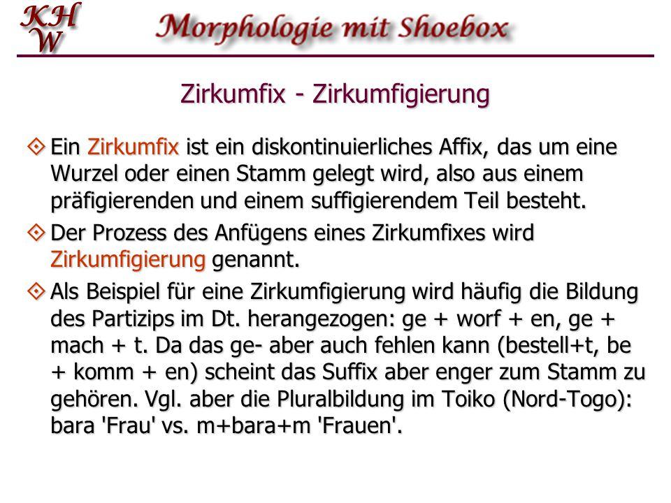 Zirkumfix - Zirkumfigierung  Ein Zirkumfix ist ein diskontinuierliches Affix, das um eine Wurzel oder einen Stamm gelegt wird, also aus einem präfigi