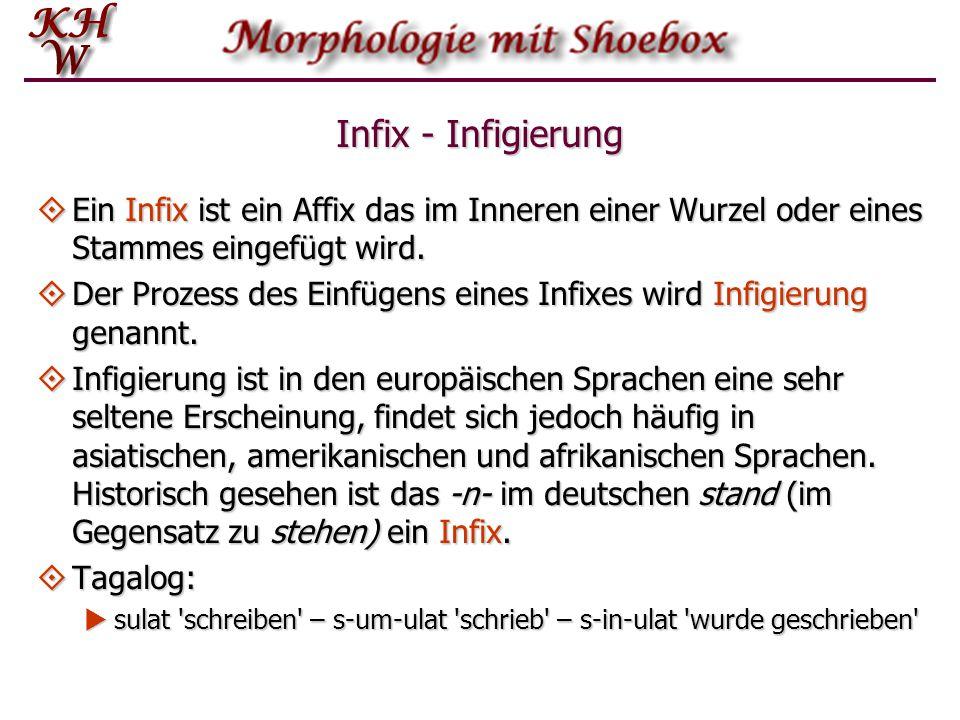 Infix - Infigierung  Ein Infix ist ein Affix das im Inneren einer Wurzel oder eines Stammes eingefügt wird.  Der Prozess des Einfügens eines Infixes