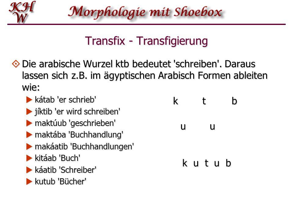  Die arabische Wurzel ktb bedeutet 'schreiben'. Daraus lassen sich z.B. im ägyptischen Arabisch Formen ableiten wie:  kátab 'er schrieb'  jíktib 'e