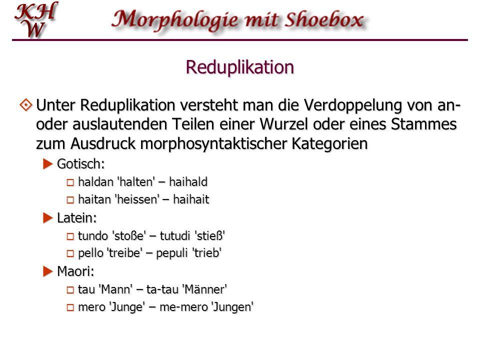 Reduplikation  Unter Reduplikation versteht man die Verdoppelung von an- oder auslautenden Teilen einer Wurzel oder eines Stammes zum Ausdruck morpho