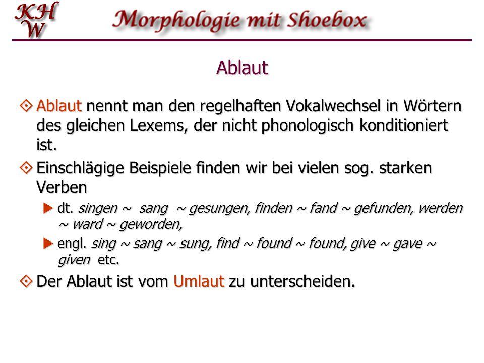 Ablaut  Ablaut nennt man den regelhaften Vokalwechsel in Wörtern des gleichen Lexems, der nicht phonologisch konditioniert ist.  Einschlägige Beispi