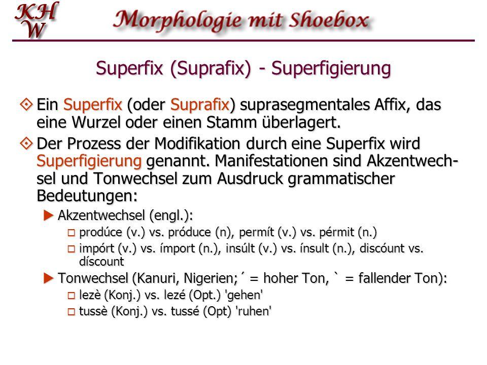 Superfix (Suprafix) - Superfigierung  Ein Superfix (oder Suprafix) suprasegmentales Affix, das eine Wurzel oder einen Stamm überlagert.  Der Prozess