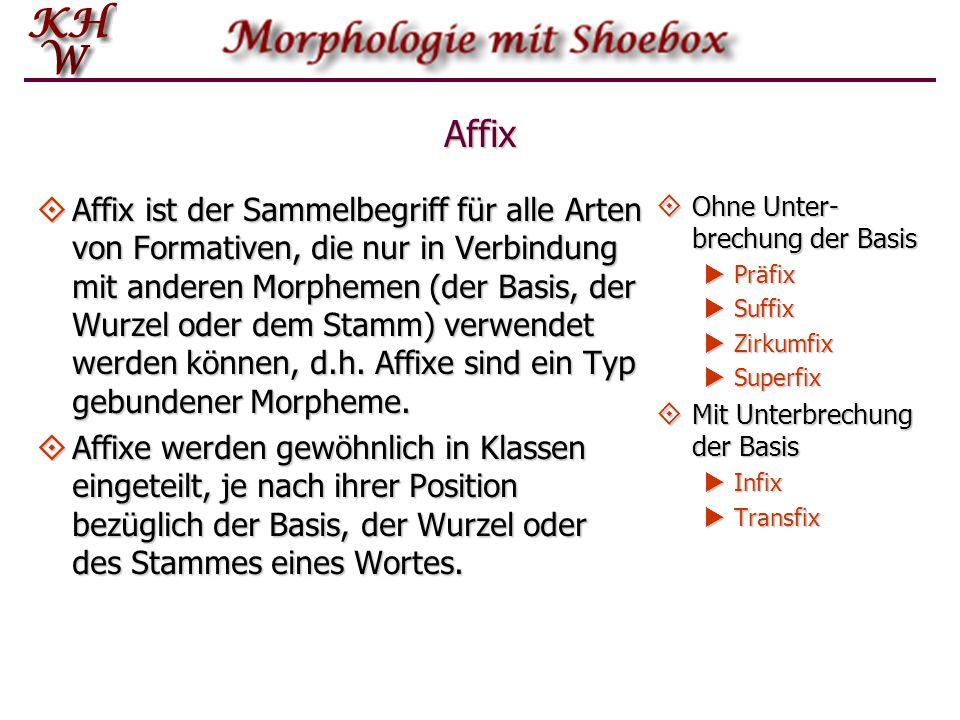 Affix  Affix ist der Sammelbegriff für alle Arten von Formativen, die nur in Verbindung mit anderen Morphemen (der Basis, der Wurzel oder dem Stamm)