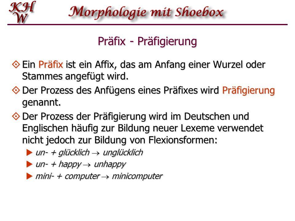 Präfix - Präfigierung  Ein Präfix ist ein Affix, das am Anfang einer Wurzel oder Stammes angefügt wird.  Der Prozess des Anfügens eines Präfixes wir
