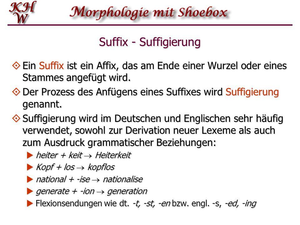 Suffix - Suffigierung  Ein Suffix ist ein Affix, das am Ende einer Wurzel oder eines Stammes angefügt wird.  Der Prozess des Anfügens eines Suffixes