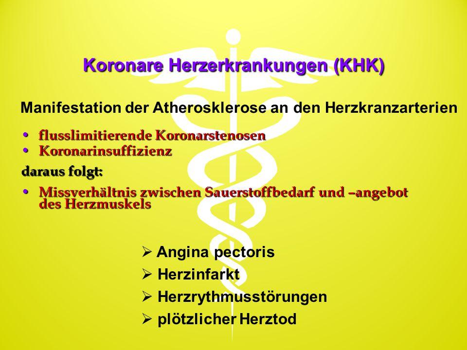 Koronare Herzerkrankungen (KHK) flusslimitierende Koronarstenosen flusslimitierende Koronarstenosen Koronarinsuffizienz Koronarinsuffizienz daraus fol