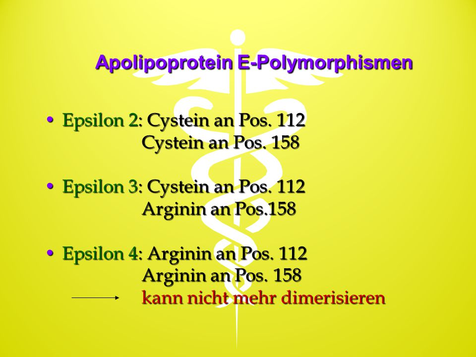 Apolipoprotein E-Polymorphismen Epsilon 2: Cystein an Pos. 112Epsilon 2: Cystein an Pos. 112 Cystein an Pos. 158 Cystein an Pos. 158 Epsilon 3: Cystei