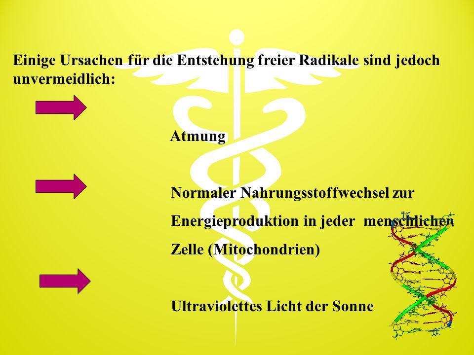Einige Ursachen für die Entstehung freier Radikale sind jedoch unvermeidlich: Atmung Normaler Nahrungsstoffwechsel zur Energieproduktion in jeder mens