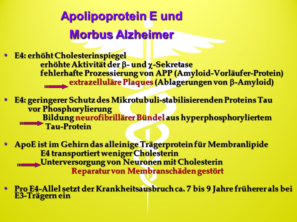 Apolipoprotein E und Morbus Alzheimer E4: erhöht Cholesterinspiegel E4: erhöht Cholesterinspiegel erhöhte Aktivität der  - und  -Sekretase erhöhte A