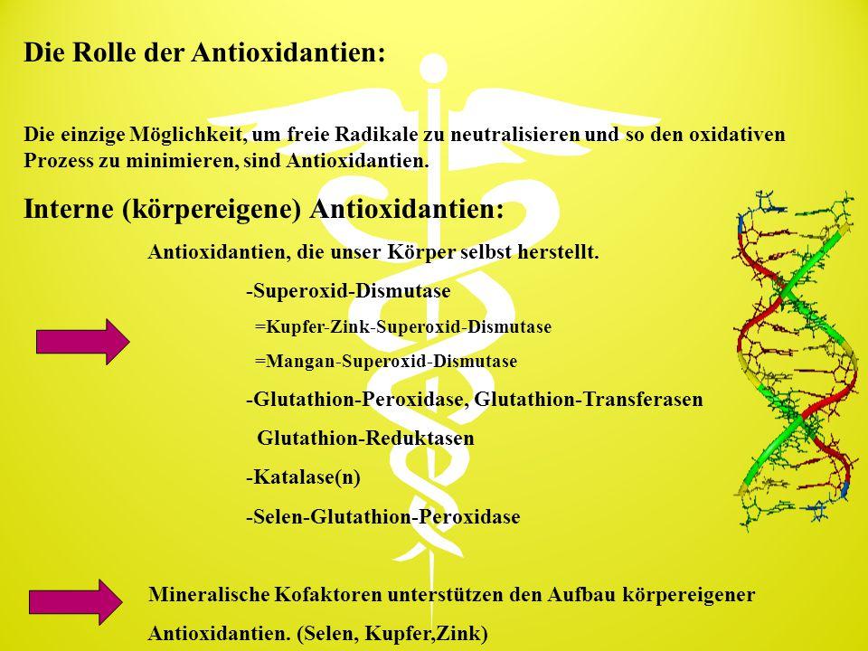 Die Rolle der Antioxidantien: Die einzige Möglichkeit, um freie Radikale zu neutralisieren und so den oxidativen Prozess zu minimieren, sind Antioxida