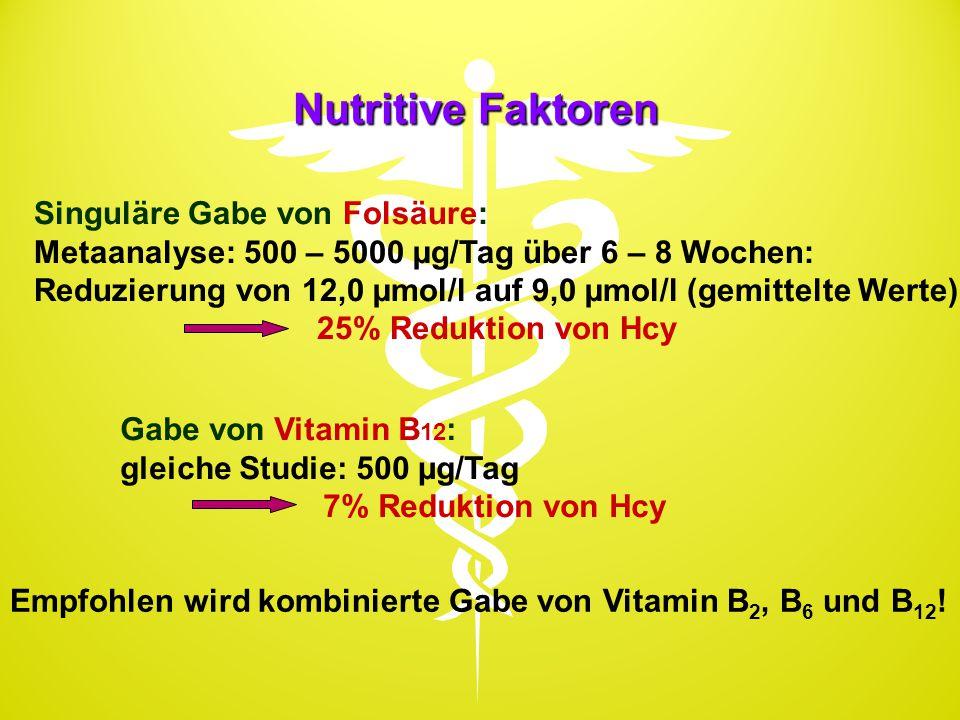 Nutritive Faktoren Singuläre Gabe von Folsäure: Metaanalyse: 500 – 5000 µg/Tag über 6 – 8 Wochen: Reduzierung von 12,0 µmol/l auf 9,0 µmol/l (gemittel