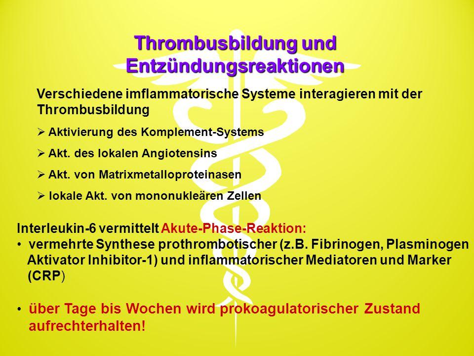 Thrombusbildung und Entzündungsreaktionen Verschiedene imflammatorische Systeme interagieren mit der Thrombusbildung  Aktivierung des Komplement-Syst