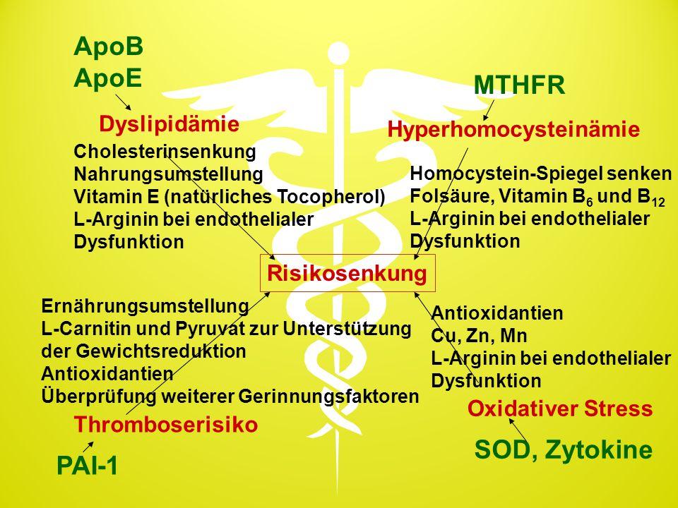 Risikosenkung Dyslipidämie ApoB ApoE Cholesterinsenkung Nahrungsumstellung Vitamin E (natürliches Tocopherol) L-Arginin bei endothelialer Dysfunktion