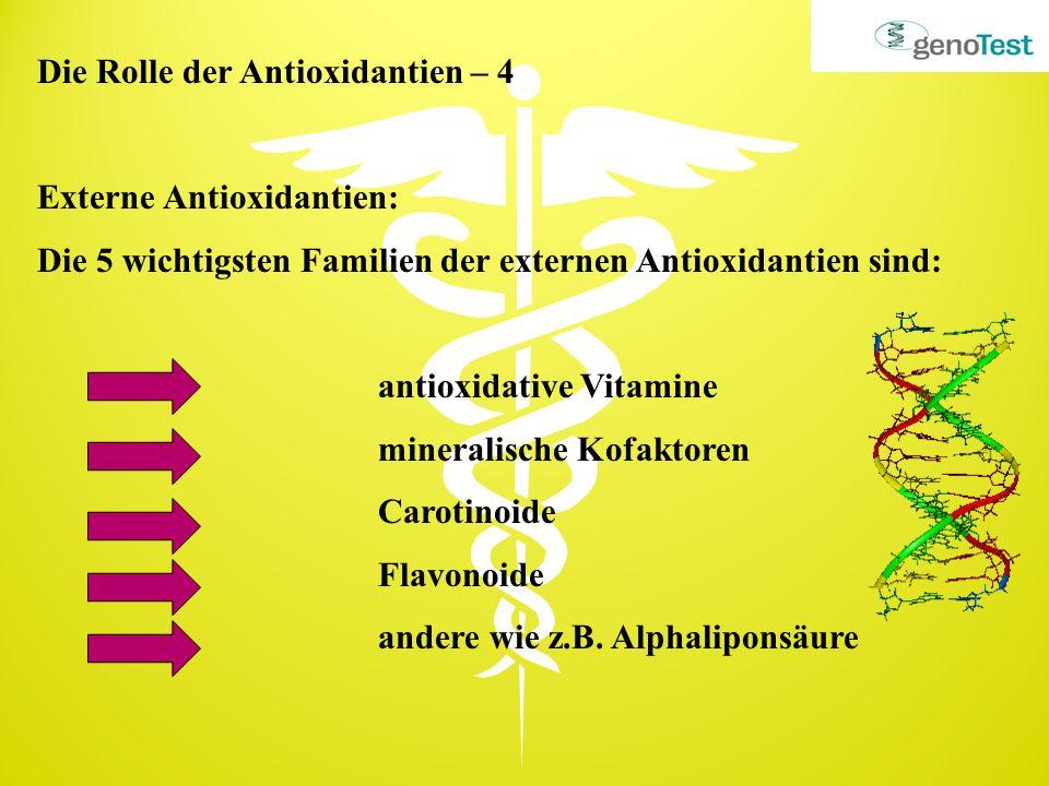 Die Rolle der Antioxidantien – 4 Externe Antioxidantien: Die 5 wichtigsten Familien der externen Antioxidantien sind: antioxidative Vitamine mineralis
