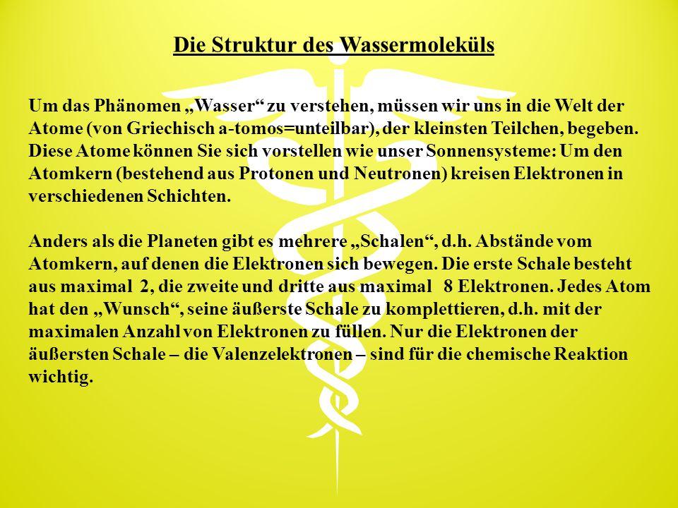 """Die Struktur des Wassermoleküls Um das Phänomen """"Wasser"""" zu verstehen, müssen wir uns in die Welt der Atome (von Griechisch a-tomos=unteilbar), der kl"""