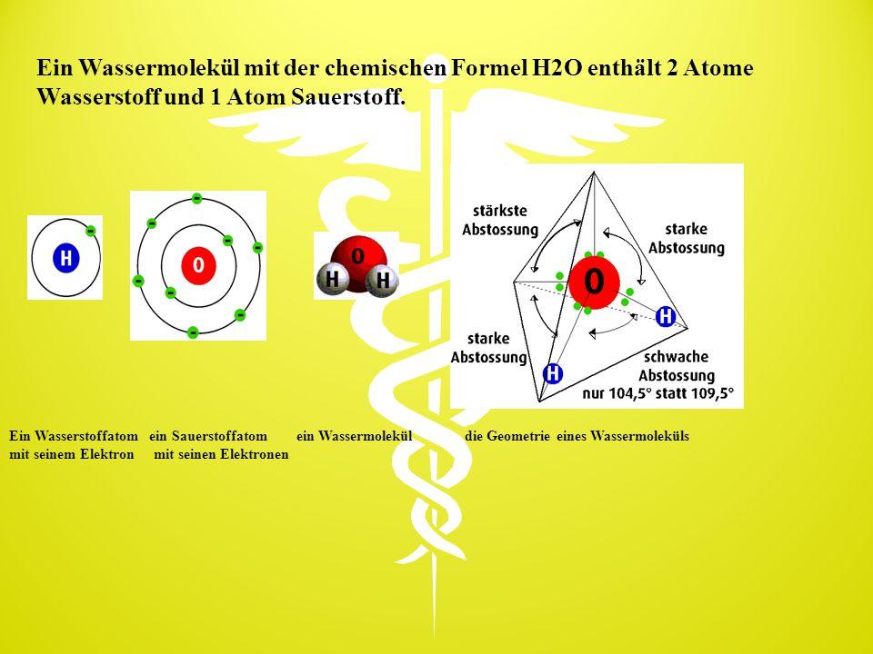 Ein Wassermolekül mit der chemischen Formel H2O enthält 2 Atome Wasserstoff und 1 Atom Sauerstoff. Ein Wasserstoffatom ein Sauerstoffatom ein Wassermo