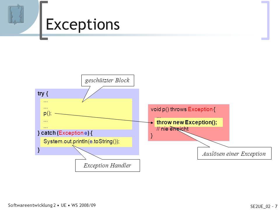 Abteilung für Telekooperation Softwareentwicklung 2 UE WS 2008/09 SE2UE_02 - 7 Exceptions try {... p();... } catch (Exception e) { System.out.println(