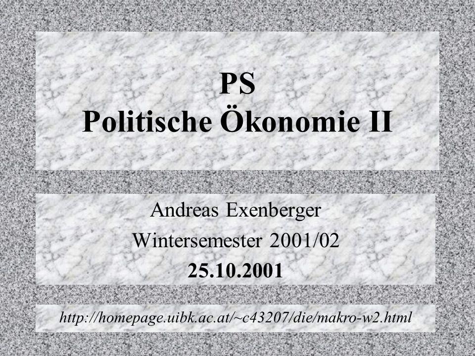 PS Politische Ökonomie II Andreas Exenberger Wintersemester 2001/02 25.10.2001 http://homepage.uibk.ac.at/~c43207/die/makro-w2.html