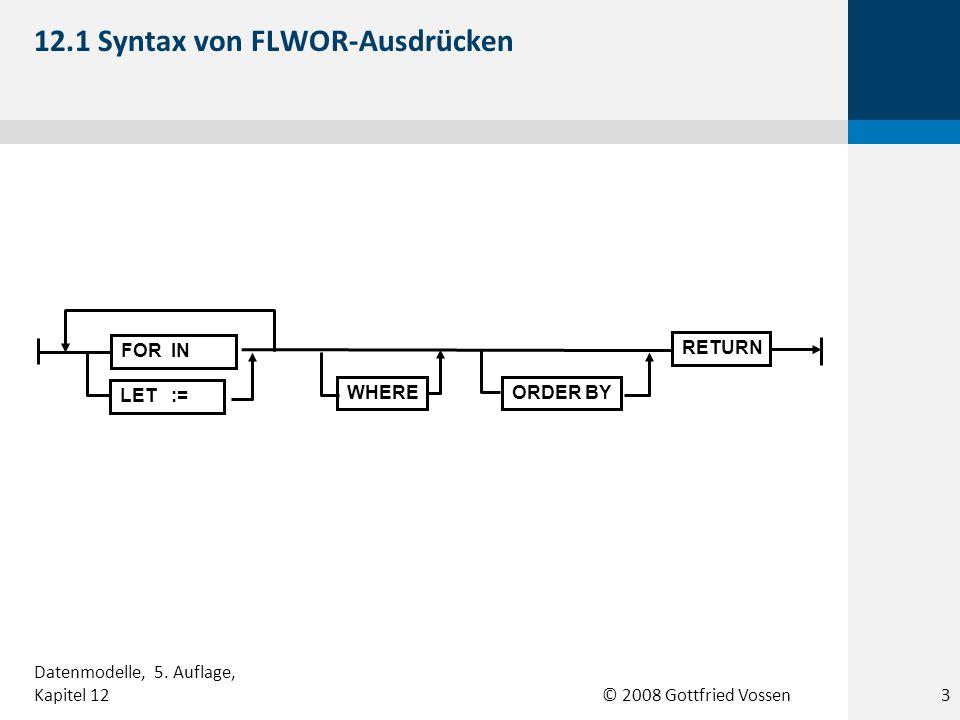 © 2008 Gottfried Vossen SQL-Datenbank Datentyp XML SQL SQL XQuery XML-Dokumente Anwendung 12.2 Anwendungsszenario für SQL/XML 4 Datenmodelle, 5.