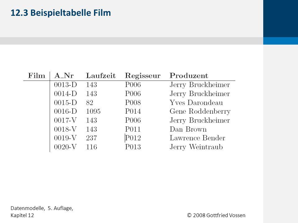 © 2008 Gottfried Vossen 12.3 Beispieltabelle Film Datenmodelle, 5. Auflage, Kapitel 12