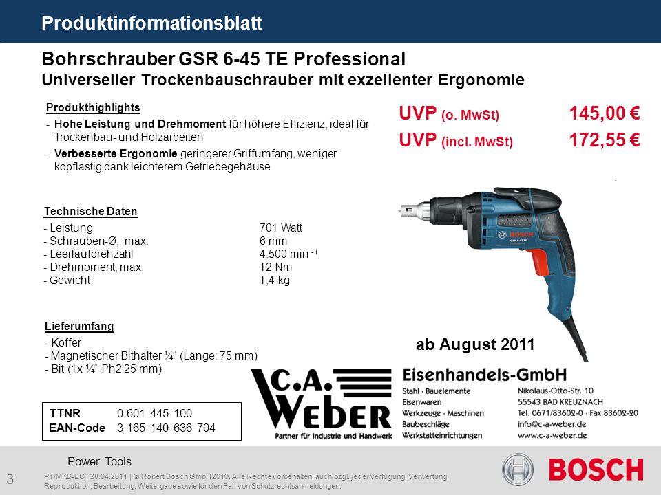 3 Bohrschrauber GSR 6-45 TE Professional Universeller Trockenbauschrauber mit exzellenter Ergonomie TTNR0 601 445 100 EAN-Code3 165 140 636 704 Liefer