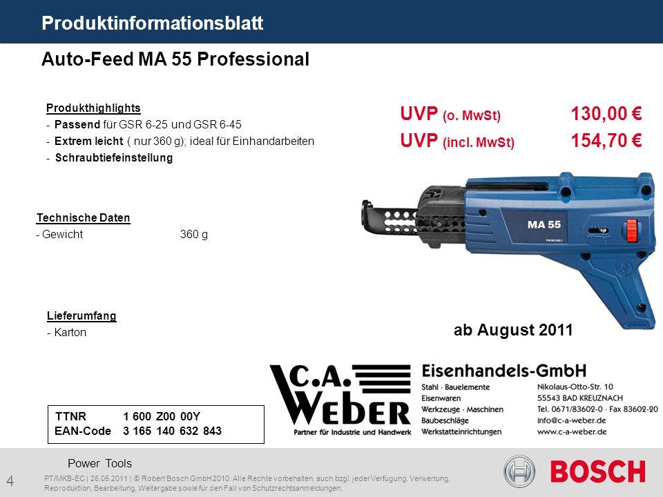 4 Auto-Feed MA 55 Professional Lieferumfang - Karton Technische Daten - Gewicht360 g Power Tools UVP (o. MwSt) 130,00 € UVP (incl. MwSt) 154,70 € Prod