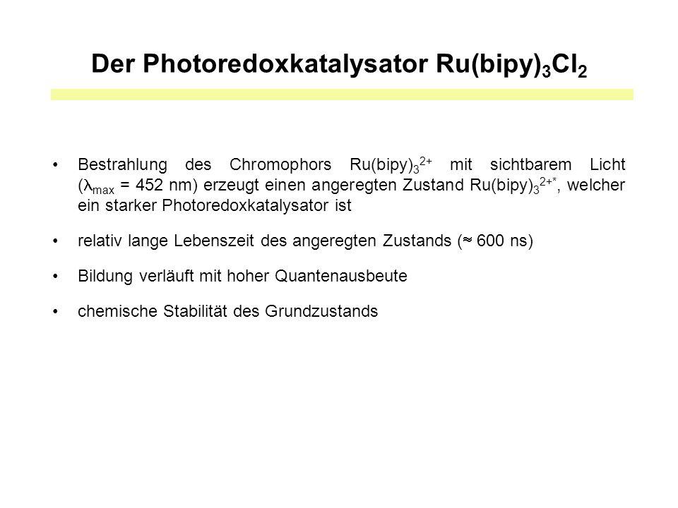 Der Photoredoxkatalysator Ru(bipy) 3 Cl 2 Bestrahlung des Chromophors Ru(bipy) 3 2+ mit sichtbarem Licht ( max = 452 nm) erzeugt einen angeregten Zustand Ru(bipy) 3 2+*, welcher ein starker Photoredoxkatalysator ist relativ lange Lebenszeit des angeregten Zustands (  600 ns) Bildung verläuft mit hoher Quantenausbeute chemische Stabilität des Grundzustands