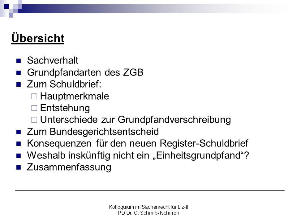 Kolloquium im Sachenrecht für Liz-II PD Dr. C. Schmid-Tschirren Übersicht Sachverhalt Grundpfandarten des ZGB Zum Schuldbrief:  Hauptmerkmale  Entst