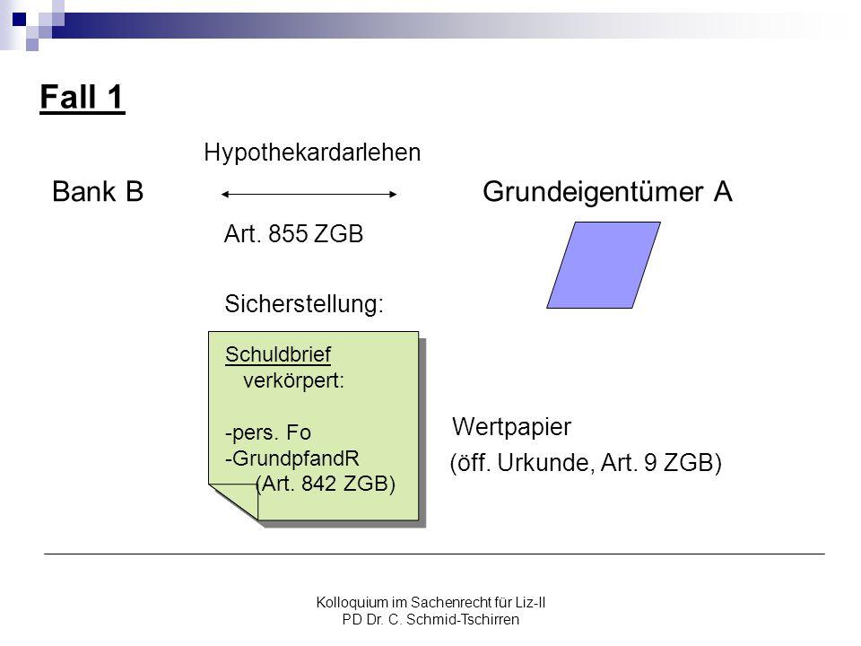 Kolloquium im Sachenrecht für Liz-II PD Dr. C. Schmid-Tschirren Fall 1 Hypothekardarlehen Bank BGrundeigentümer A Art. 855 ZGB Sicherstellung: Wertpap