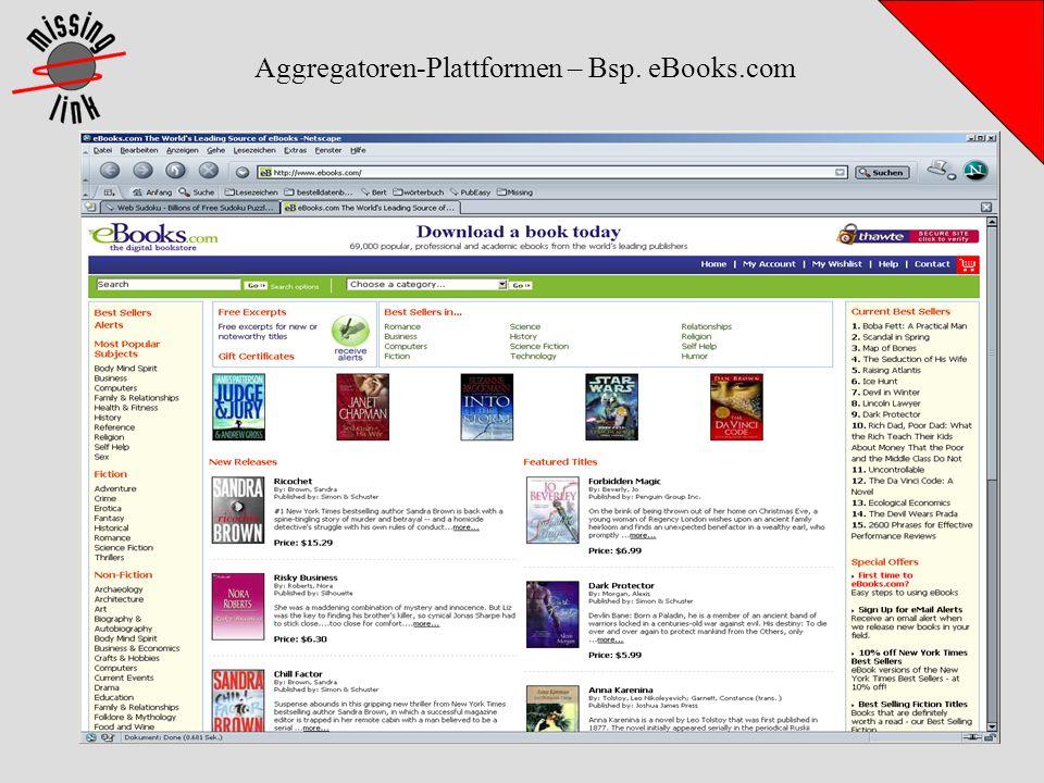 Aggregatoren-Plattformen – Bsp. eBooks.com