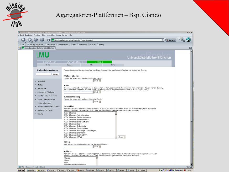 Aggregatoren-Plattformen – Bsp. Ciando