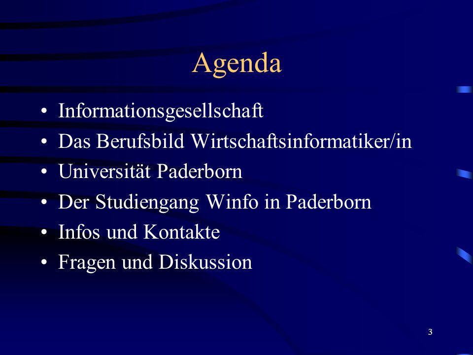 3 Agenda Informationsgesellschaft Das Berufsbild Wirtschaftsinformatiker/in Universität Paderborn Der Studiengang Winfo in Paderborn Infos und Kontakte Fragen und Diskussion