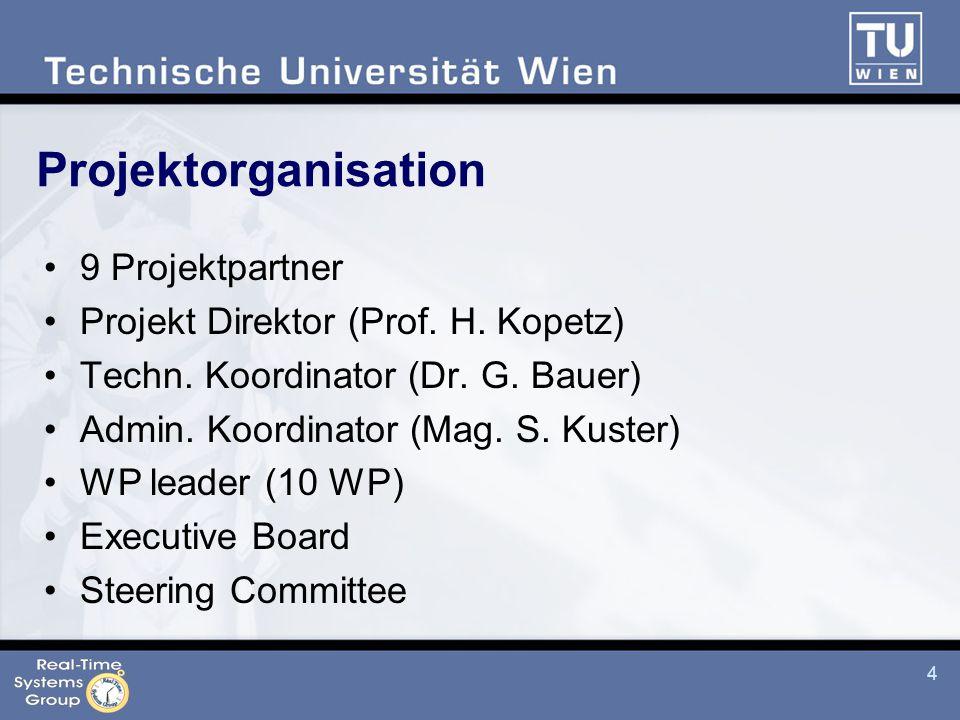 4 Projektorganisation 9 Projektpartner Projekt Direktor (Prof.