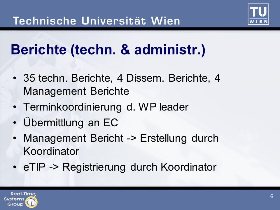 6 Berichte (techn. & administr.) 35 techn. Berichte, 4 Dissem.