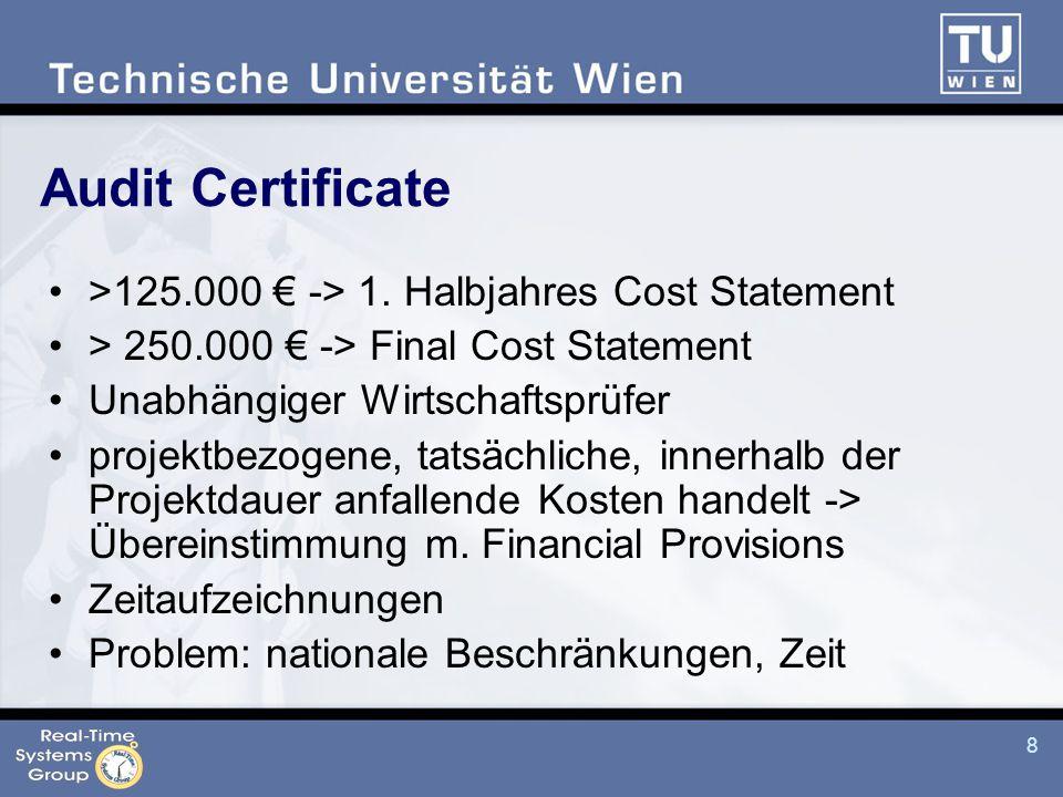 8 Audit Certificate >125.000 € -> 1.