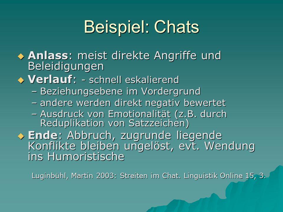 Beispiel: Chats  Anlass: meist direkte Angriffe und Beleidigungen  Verlauf: - schnell eskalierend –Beziehungsebene im Vordergrund –andere werden dir