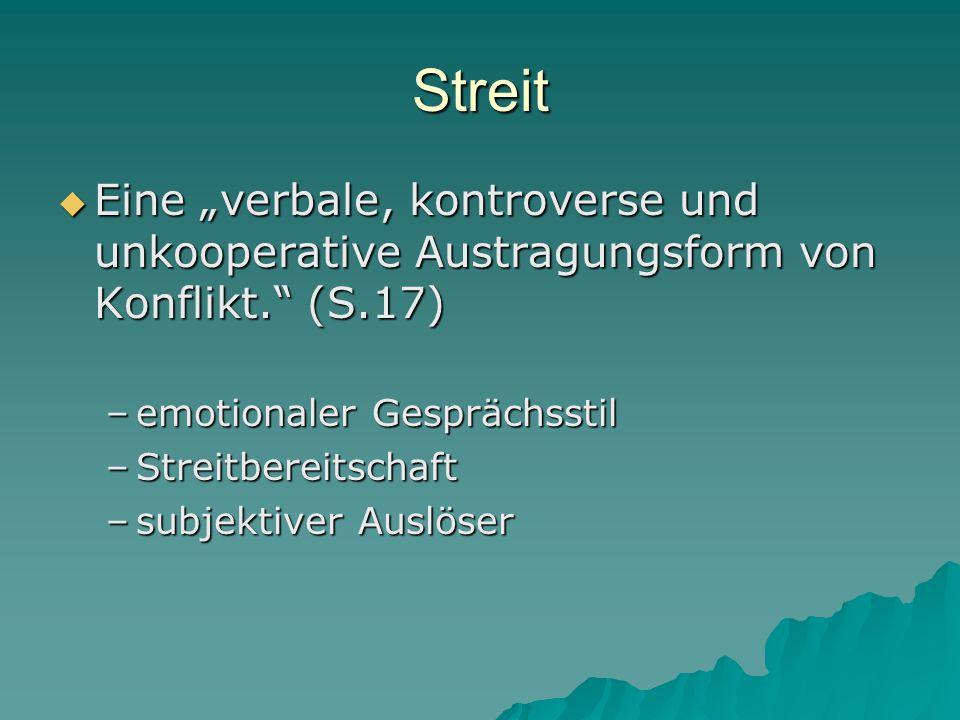 """Streit  Eine """"verbale, kontroverse und unkooperative Austragungsform von Konflikt."""" (S.17) –emotionaler Gesprächsstil –Streitbereitschaft –subjektive"""