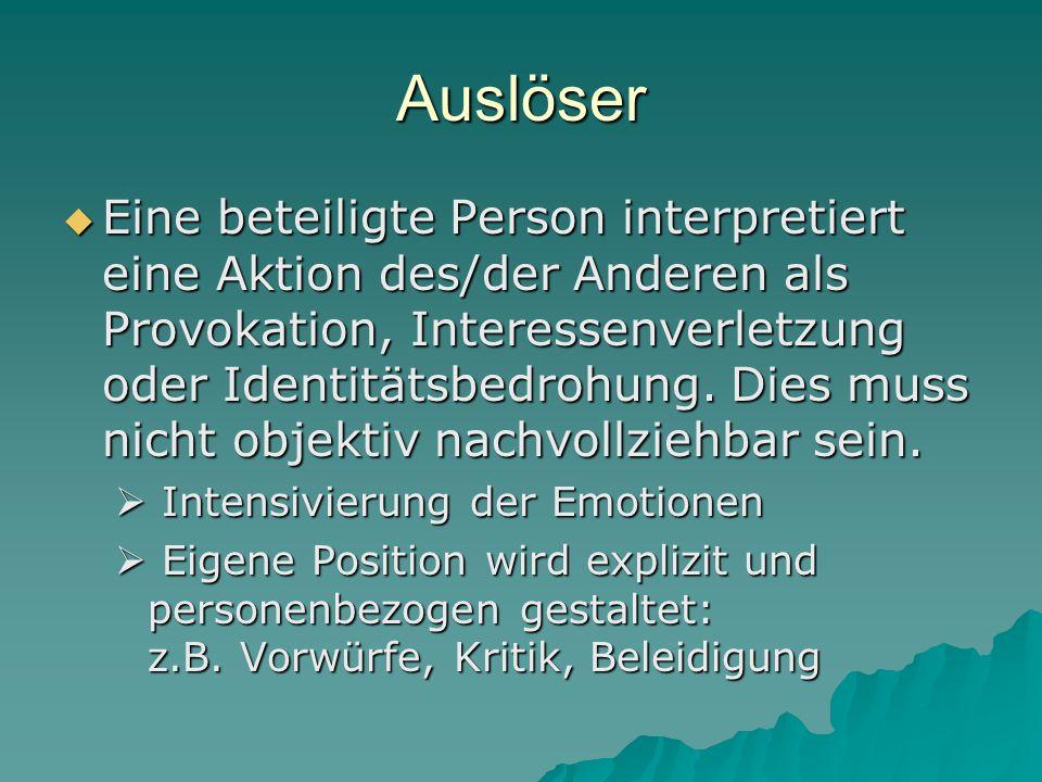 Auslöser  Eine beteiligte Person interpretiert eine Aktion des/der Anderen als Provokation, Interessenverletzung oder Identitätsbedrohung. Dies muss