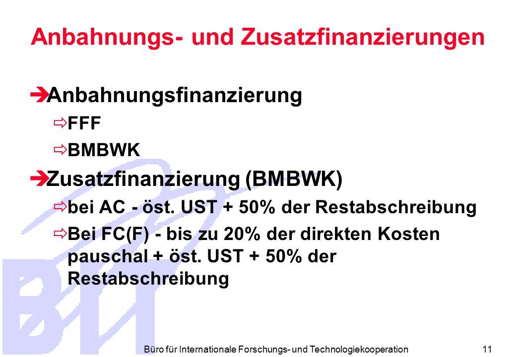 Büro für Internationale Forschungs- und Technologiekooperation 11 Anbahnungs- und Zusatzfinanzierungen  Anbahnungsfinanzierung  FFF  BMBWK  Zusatzfinanzierung (BMBWK)  bei AC - öst.