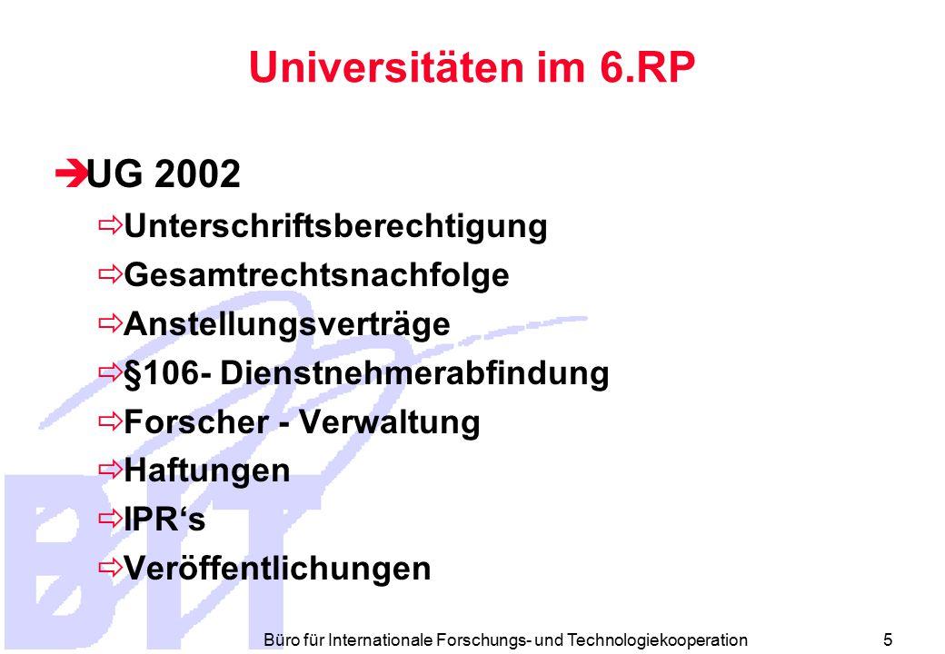 Büro für Internationale Forschungs- und Technologiekooperation 5 Universitäten im 6.RP  UG 2002  Unterschriftsberechtigung  Gesamtrechtsnachfolge  Anstellungsverträge  §106- Dienstnehmerabfindung  Forscher - Verwaltung  Haftungen  IPR's  Veröffentlichungen