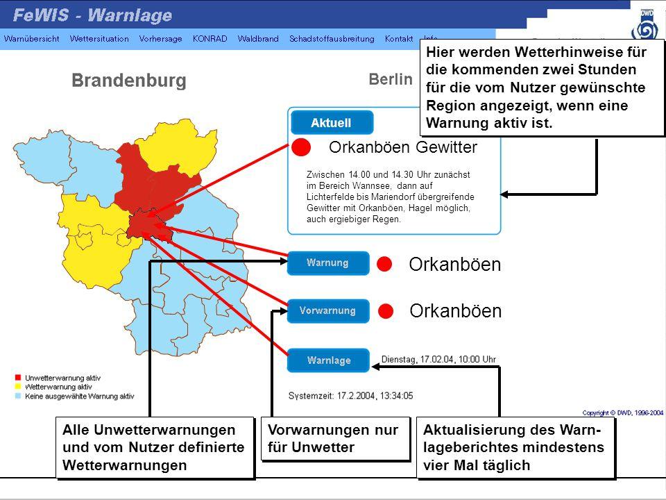 Zwischen 14.00 und 14.30 Uhr zunächst im Bereich Wannsee, dann auf Lichterfelde bis Mariendorf übergreifende Gewitter mit Orkanböen, Hagel möglich, auch ergiebiger Regen.