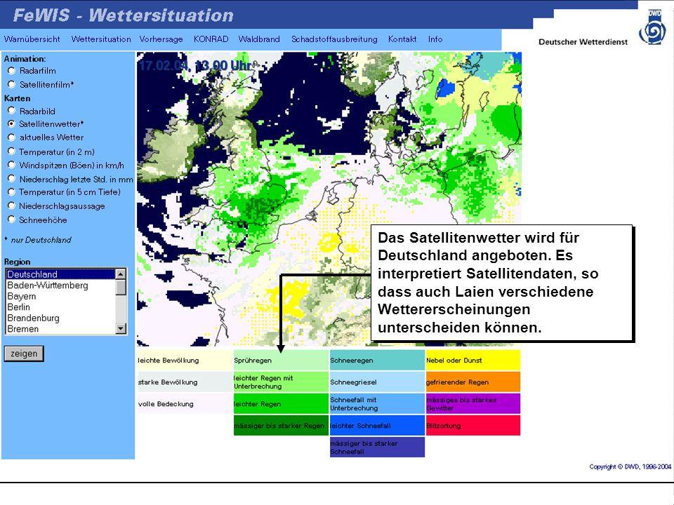 Das Satellitenwetter wird für Deutschland angeboten.