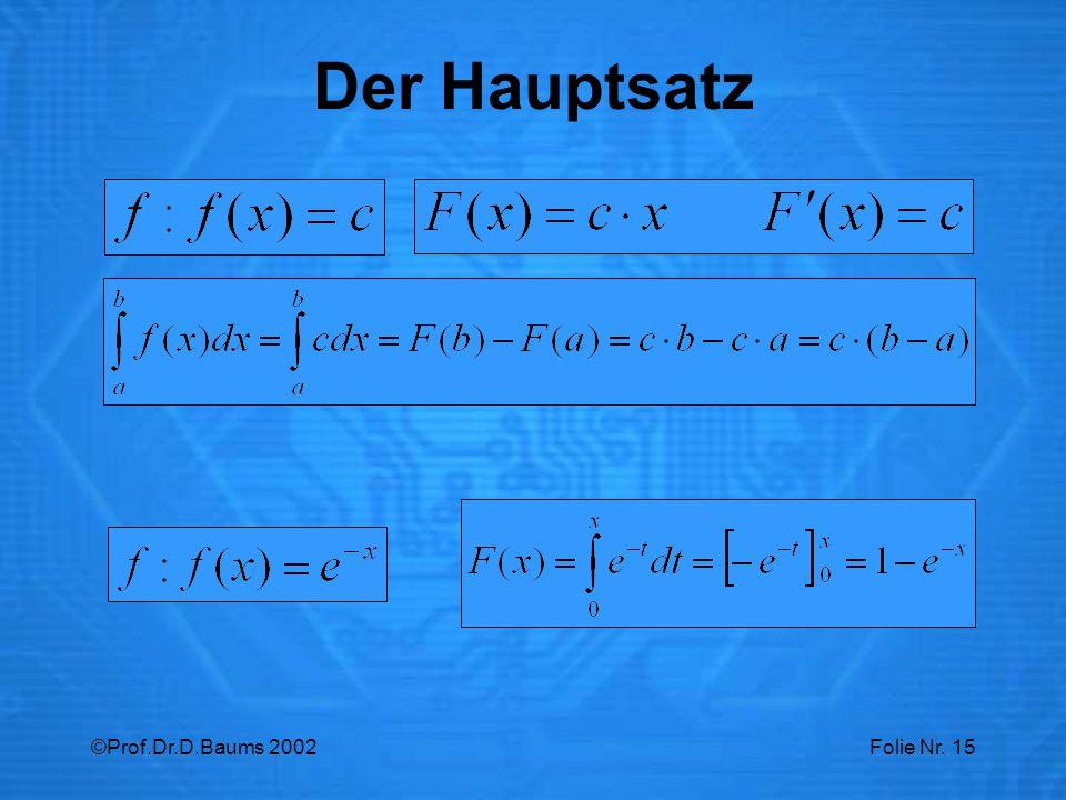 ©Prof.Dr.D.Baums 2002Folie Nr. 15 Der Hauptsatz