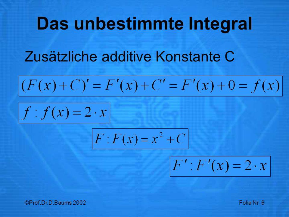 ©Prof.Dr.D.Baums 2002Folie Nr. 6 Zusätzliche additive Konstante C Das unbestimmte Integral